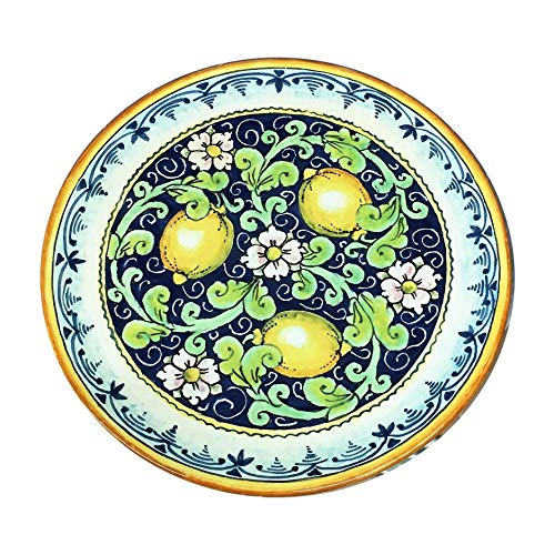 CERAMICHE D'ARTE PARRINI - Italian Ceramic Art Pottery Hand Painted Plate Flat Dish Decorated Lemons Made in ITALY Tuscan