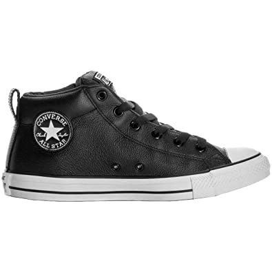 512ec0fcdd5 Converse Kids All Star Street MID Shoes Leather Black White Size 1