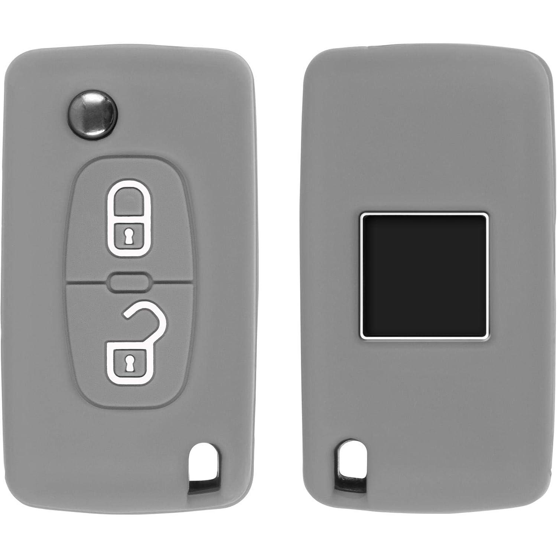 408 Nero Chiave a Scatto a 2-Key PhoneNatic Cover in Silicone Chiavi per Telecomando a 2 Tasti Peugeot 207//307