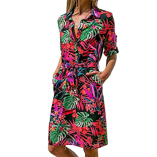 50168ed55b8 DEATU Hot Sale! Ladies Dress Women Casual Striking Print Roll up Long  Sleeve Button Down Tie Waist in Mini Dress(Multicolor