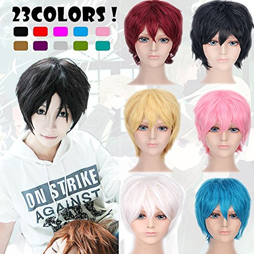 2-5 Days Delivery Unisex Japanese Anime Cosplay Wigs black Synthetic Short Full Party Costume Wig Layered with Bangs and Cap Halloween Wigs for Women Men Girl Boy Teens (black) - Day Wig