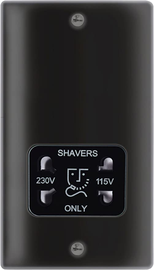 115V//230V dual voltage shaver socket-matt black with black insert SF8900MB