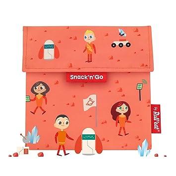 Rolleat - SnacknGo Kids - Bolsa Merienda Porta Snacks Infantil Ecológica y Reutilizable sin BPA | Funda Porta Sandwich, Unisex, Diseño Space