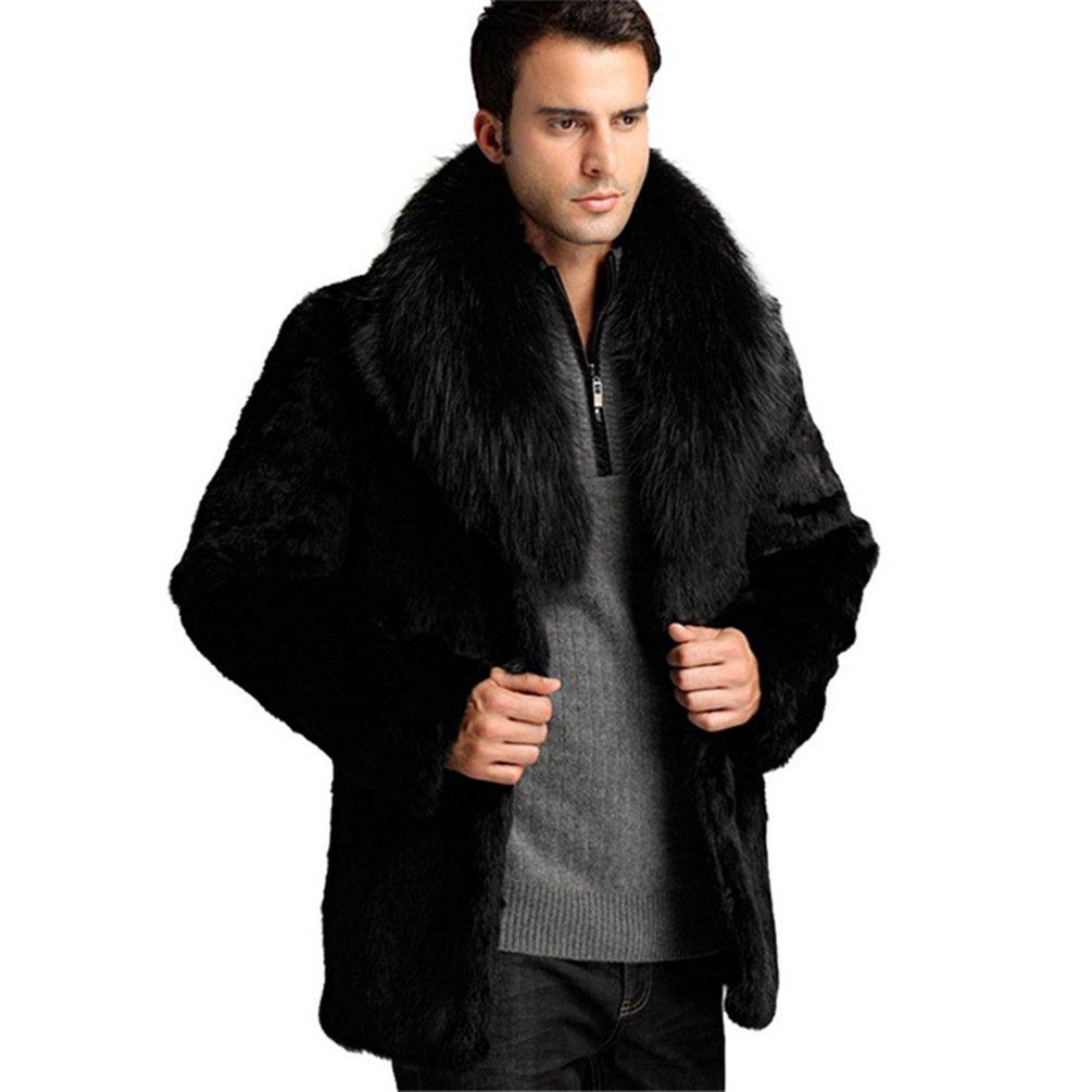 b09b19b7ec2e MINGCHUAN Men's Genuine Rabbit Fur Coat with with with Fox Fur Collar Winter  Fur Jacket e55867