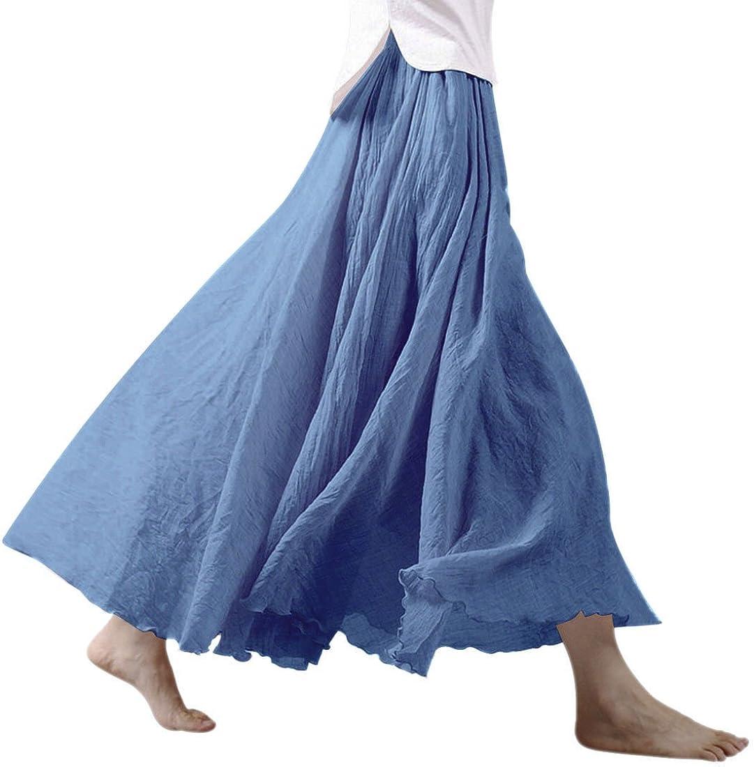 con girovita elastico gonna lunga di cotone e lino N.Life da donna a doppio strato