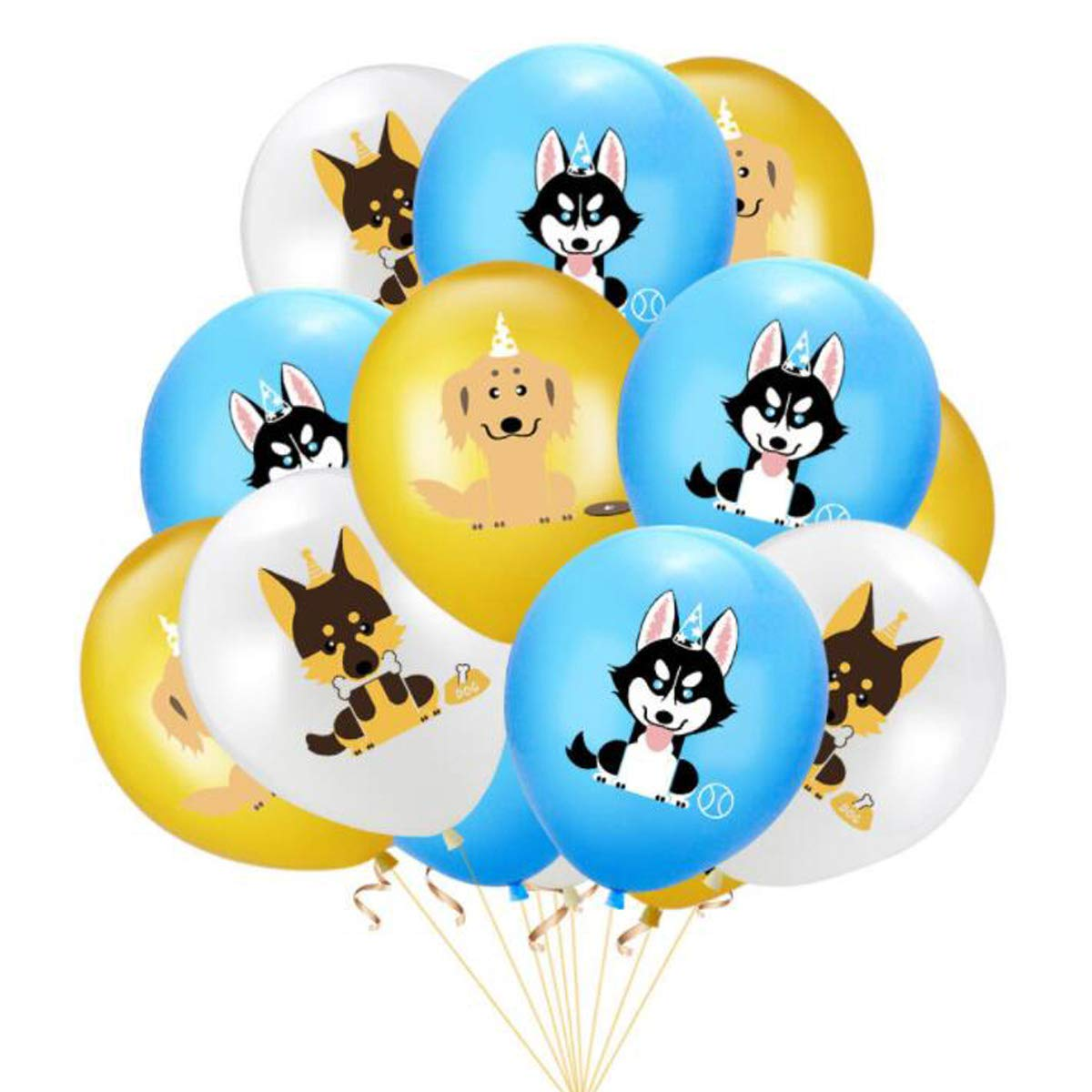 Zopai Puppy Gog Pals Balloons Boy Birthday Party Decorations Supplies 10pcs Pet Doggy Balloons with Cute Dog Print Colorful 12 Inches Latex Balloon