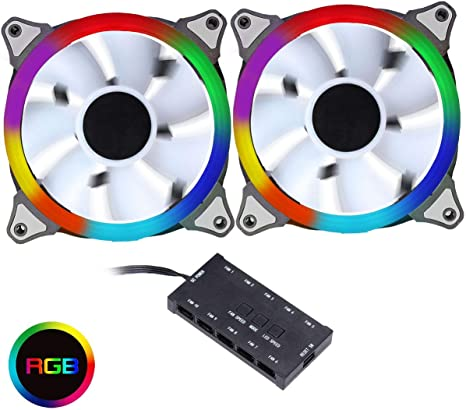 CiT - Controlador de Ventilador PWM de Arco Iris con 2 Anillos RGB de 120 mm, 6 Pines: Amazon.es: Informática