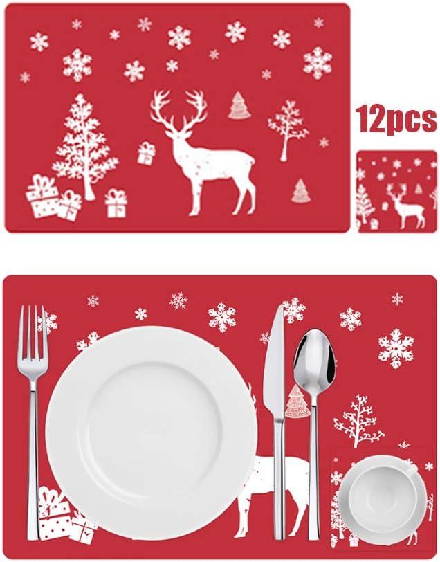 Anyingkai 12PCS Manteles Individuales de Navidad,Decoración Navideña Mantel,Mantel Individual Plastico,Salvamanteles Individual,PVC Mantel Individual,Estera de Mesa (Ciervo Rojo)