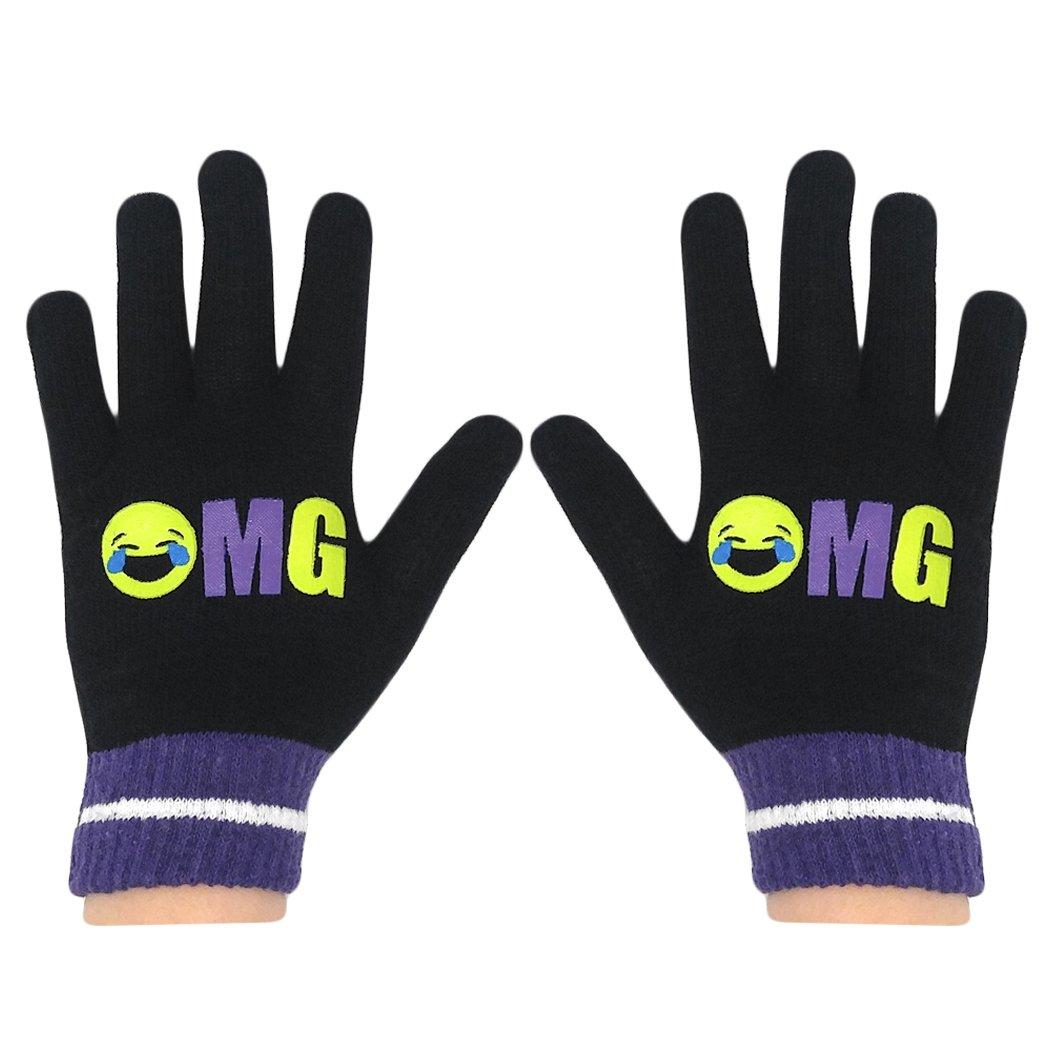 Girls OMG Black Stretch Knit Emoji Gloves Children/'s Magic Gloves for Winter