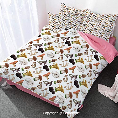 (Homenon Mushroom Girl's Room Cover Set Full Size,Realistic Style Various Kinds of Fresh Toadstools Truffles N,Decorative 3 Piece Bedding Set with 2 Pillow Shams Multicolor)