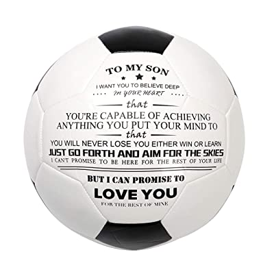 wompolle Printed Soccer Ball/Football Toy to Your Son - Anniversary Birthday Christams Wedding Graduation Gifts - Perfect for Outdoor & Indoor Match or Game (to My Son): Sports & Outdoors