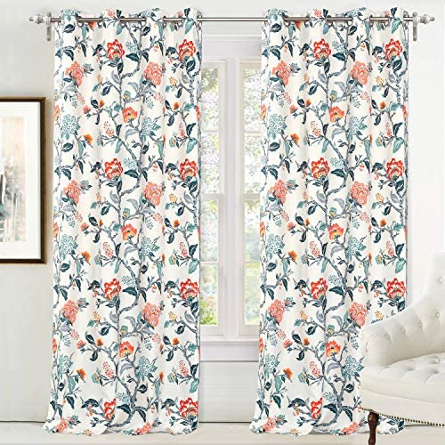 DriftAway Ada Floral Botanical Print Flower Leaf Lined Thermal Insulated Room Darkening Blackout Grommet Window Curtains 2 Layers Set of 2 Panels Each 52 Inch