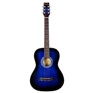 Hapilife Guitarra acústica 3/4 (tamaño cadete) para principiantes, niños y jóvenes, manos pequeñas, 6 cuerdas, con cuerdas de recambio, Azul