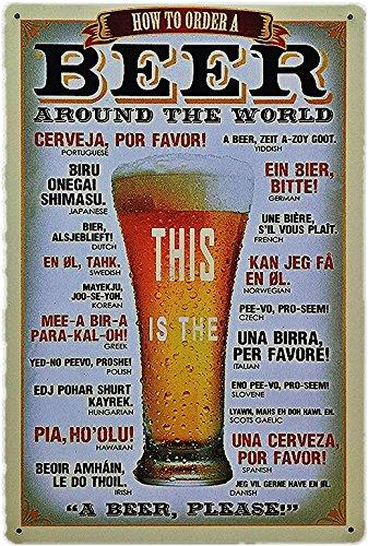 UNiQ Designs Vintage Beer Tin Signs BEERS AROUND THE WORLD Cheers Cervezas Metal Beer Signs - Bar Signs Vintage Beer Wall decor Alcohol Signs - Funny Signs for Bar Beer Decorations Bar Sign Decor 12x8 (Best Bachelor Pad Accessories)