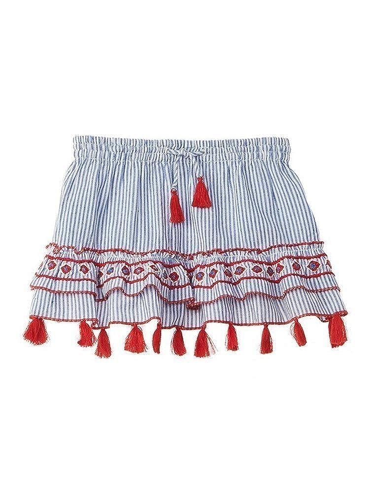 Azul Big Girls Blue Embroidered Tassel Adorned Strike A Pose Skirt 8-14