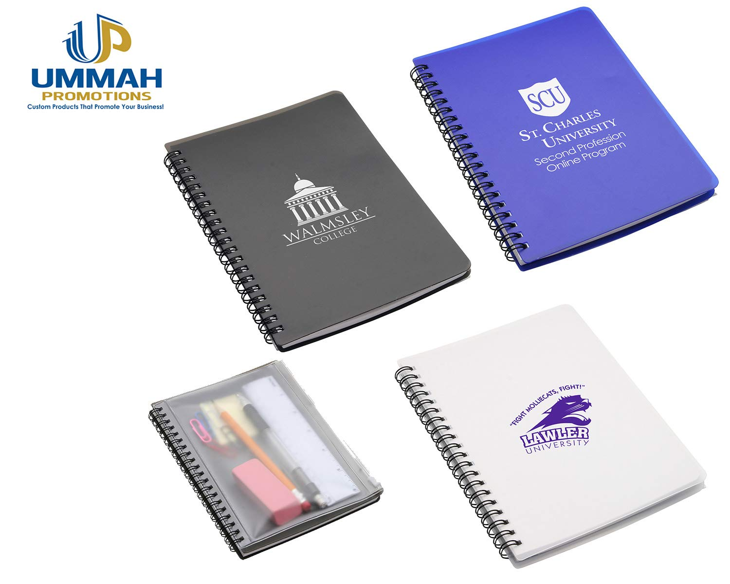 150 Personalized Hardcover Notebook With Pouch Printed With Your Logo Or Message