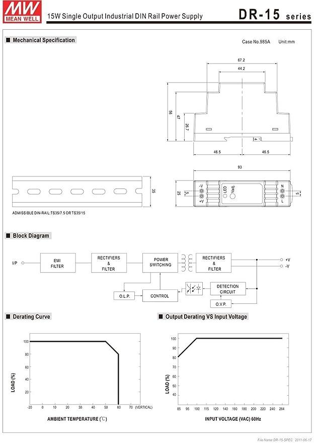 MeanWell DR-15-5 15W 5V 2.4A DIN-Rail Interruptor Fuente de Alimentación Conmutada Energía Eléctrica 100-240VAC-DC5V DIN-Rail Power Supply: Amazon.es: ...