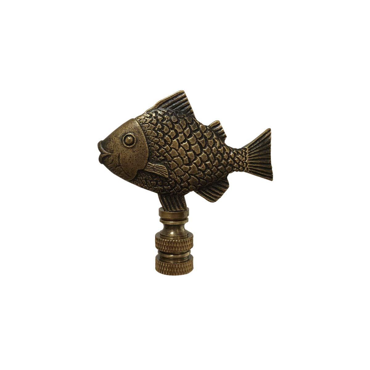 Royal Designs F-5067AB-1 Fish Design Lamp Finial, Antique Brass