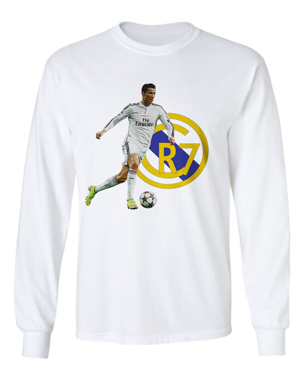 size 40 d95f0 a9392 SMARTZONE Cristiano Ronaldo Real Madrid CR7 Soccer Men's Long Sleeve T-Shirt
