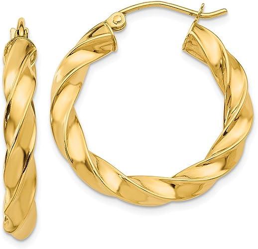 14k Light Twisted Hoop Earrings