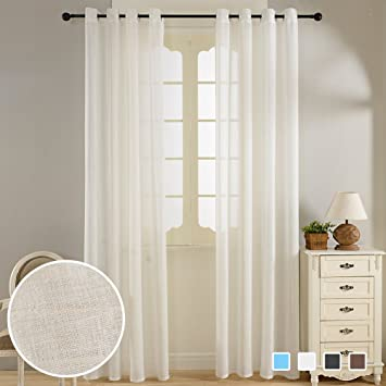 Curtains Ideas 54 inch long curtain panels : Amazon.com: Top Finel Faux Linen Semi-Sheer Curtains Window ...