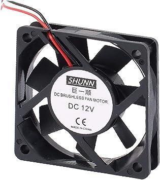 X-Dr DC12V 60mmx60mmx15mm 7 Vanes DC Motor de ventilador sin ...