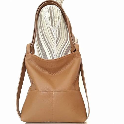 wholesale online fresh styles how to buy Small Convertible leather backpack shoulder bag light brown ...