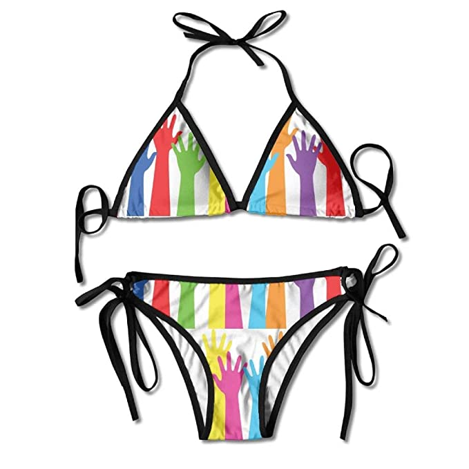 dab68b6f9ed Image Unavailable. Image not available for. Color: Swimwear Women's  Triangle Bralette, Fashion Women LGBT Rainbow Hands Printing Sexy Two-Piece  Bikini