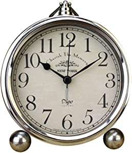 HeQiao Vintage Silent Non-Ticking Table Alarm Clocks (Silver)