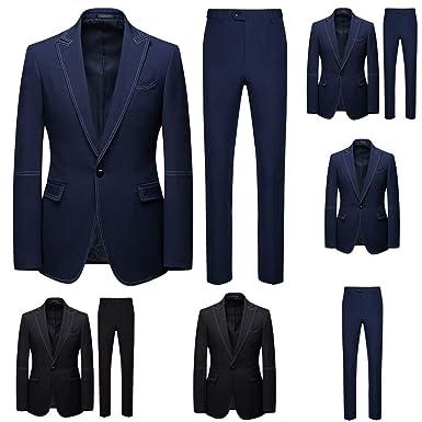 Blazer Hombre 2 Piezas Slim Fit Azul Formal Boda Traje Hombre ...