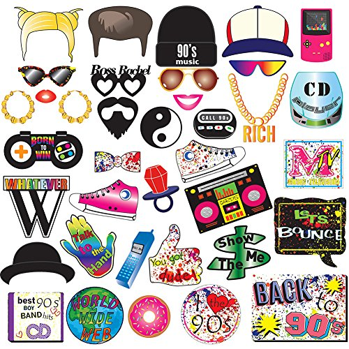90s Party Photo Booth Props Kit-1990's Throwback Party Supplies Decorations]()