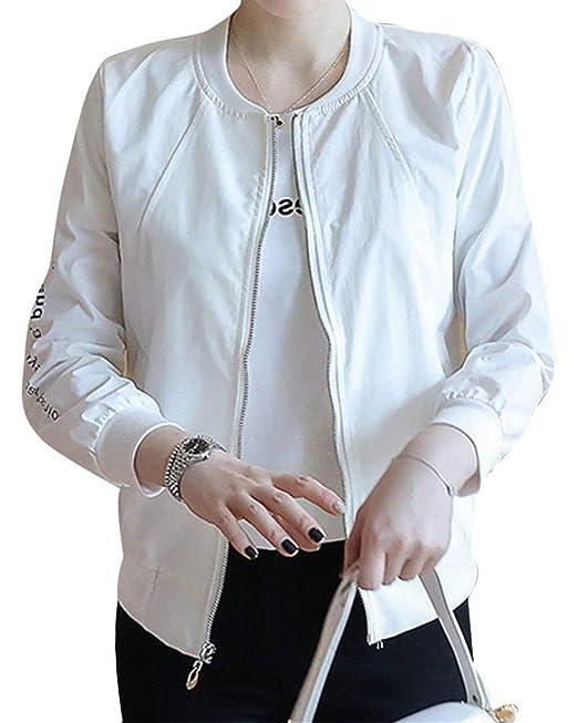 Chaquetas Mujer Primavera Otoño Carta Estampadas Abrigos Fashion Fiesta Estilo Informales Cómodo Chic Hipster Chaqueta Manga Larga Slim Fit con Cremallera ...