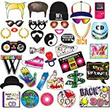 90's Throwback Party Decoration 1990s Party Photo Booth Props Kit 1990's Party Supplies- 37 Count