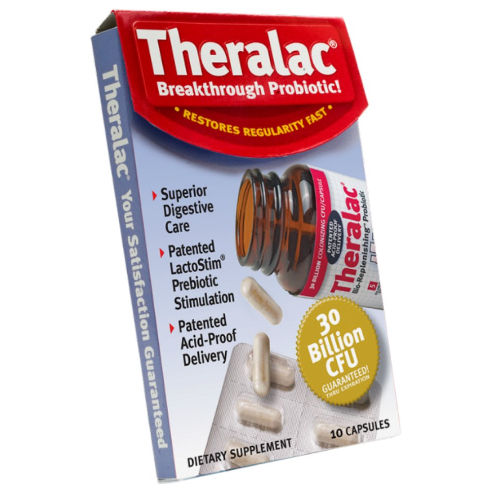 Master Supplements Theralac Travel Pack, Bio-Replenishing Probiotic, For Women and Men, 1 Bottle of 10 Capsules