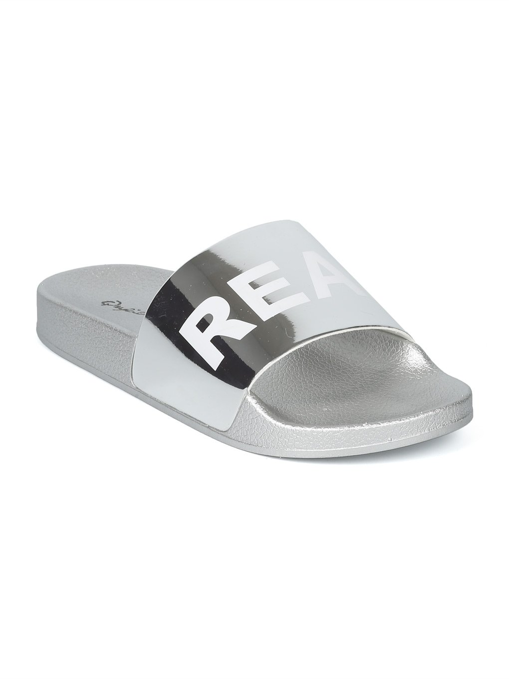Women Metallic PVC Real AF Open Toe Footbed Slide HH55 - Silver Metallic (Size: 7.0)