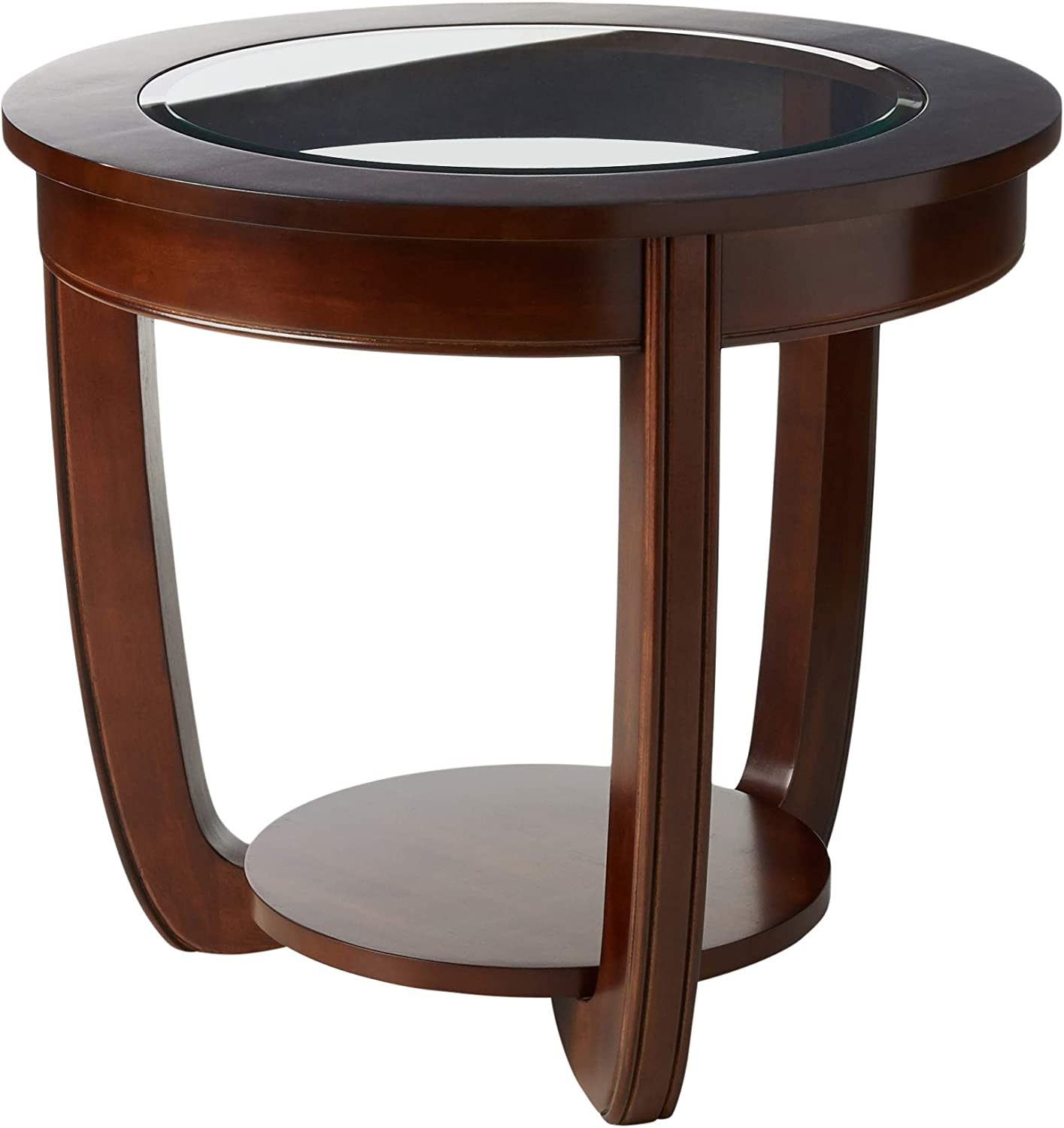 Furniture of America Byrnee End Table with 5mm Beveled Glass Top, Dark Cherry Finish