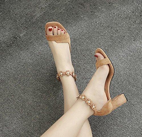 Amoi Damen hochhackigen Sandalen mit dicken, runden Frau Schuhe hohl offene Sandalen und Pantoffeln Dame Sandalen Khaki