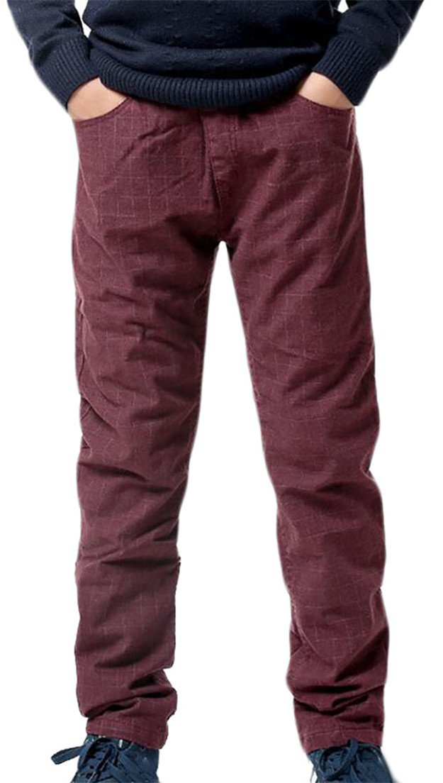 Fulok Boys Cotton Elastic Wasit Jogger Solid Soft Full Length Pants Wine Red 10/12