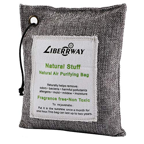 LIBERRWAY Air Purifying Bag, Natural Flesh Bamboo Charcoal Odor Remover for Shoes Cars Closets Boats Bathrooms and Pet Areas, Fragrance Free Odor Eliminator 200g