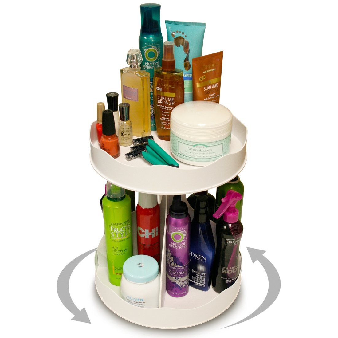 Cosmetic or Makeup Organizer ''White'' That Spins for Easy Access to All Your Beauty Essentials, No More Clutter! Only Requires 12'' of Space on Counter & Holds Taller Bottles.. Proudly Made in the USA! by PPM.