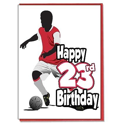 Tarjeta de cumpleaños de 23 cumpleaños con silueta de fútbol ...