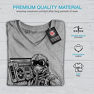 wellcoda Space Loudspeaker Fantasy Women Grey 2XL V-Neck T-Shirt