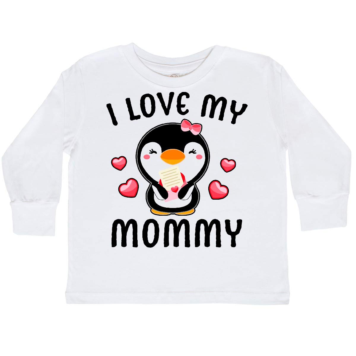 inktastic I Love My Mommy with Cute Penguin and Toddler Long Sleeve T-Shirt
