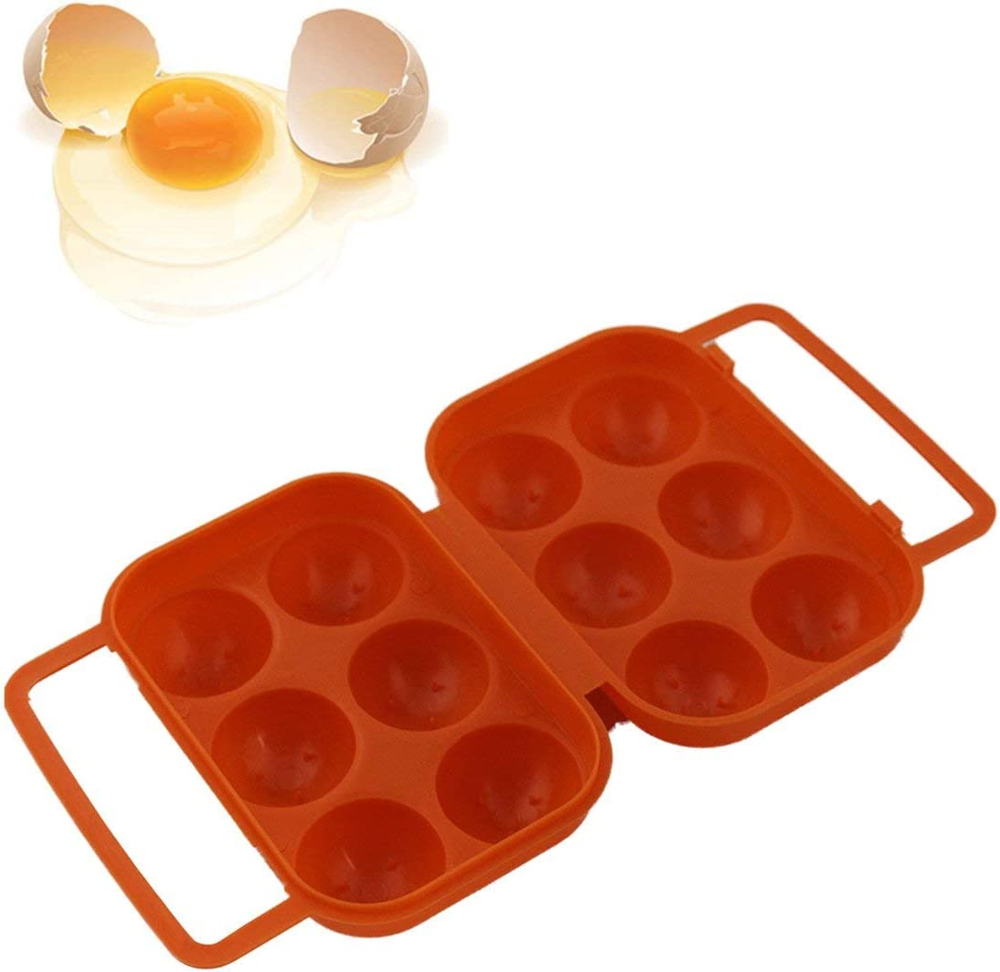 Noradtjcca 6 Grids Egg Holder Box Kitchen Storage Box Portable Egg Container Fresh Egg Carrier Case for Hiking Outdoor Camping Orange