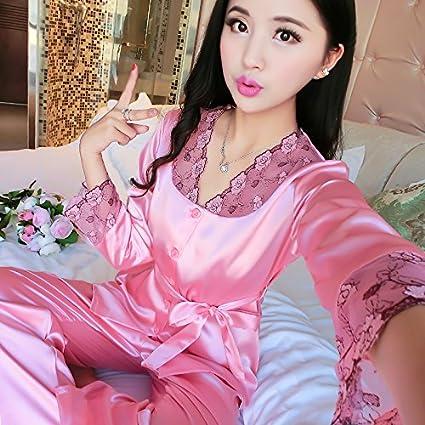 Wanglele Primavera/Verano Mujer Pijama De Manga Larga De Satén Traje De Seda Lace Pantalones