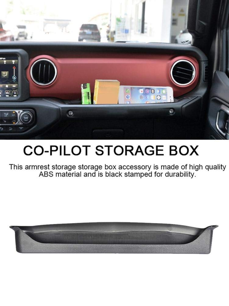 Black Interior Accessories Co-Pilot Armrest Storage Box GrabTray Passenger Storage Tray Organizer Grab Handle Accessory Box for 2011-2018 Jeep Wrangler JK JKU 2-door//4-door