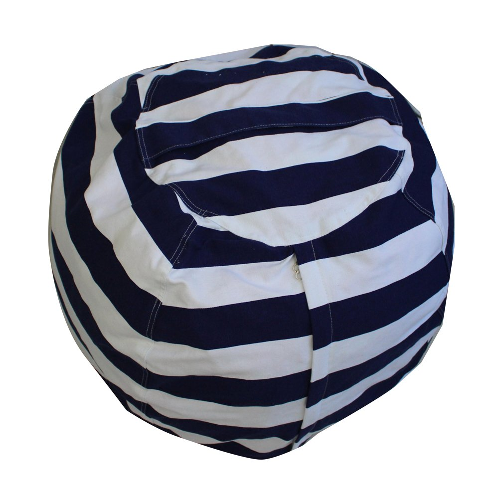 BeSpring Kid's Kids Bean Bag Cover with A Handy Storage Pouch by Clean up their Room and Hide those Stuffed toys out of sight! Available in 9 different Patterns(24 inches Diameter,Navy Blue Striped)
