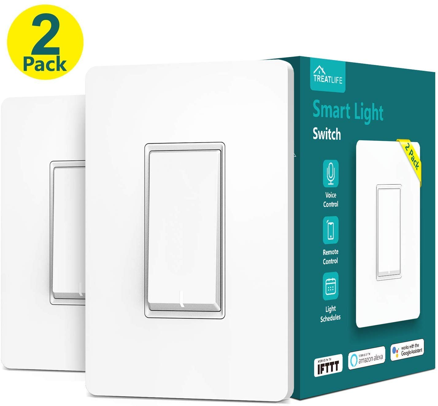 Treatlife Smart Light Switch, Neutral Wire Needed, 2.4Ghz Wi-Fi Light Switch, Works with Alexa, Google Assistant and IFTTT, Schedule, Remote Control, Single Pole, ETL Listed (2 PACK) by TREATLIFE