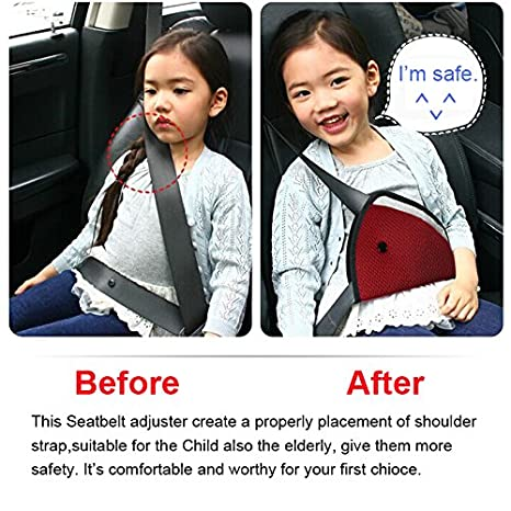 Amazon AK KYC 2 Pcack Red Blue Car Safety Kids Seatbelt Adjuster Cover Strap Mash Shoulder Pad Children Seat Belt Clips Automotive