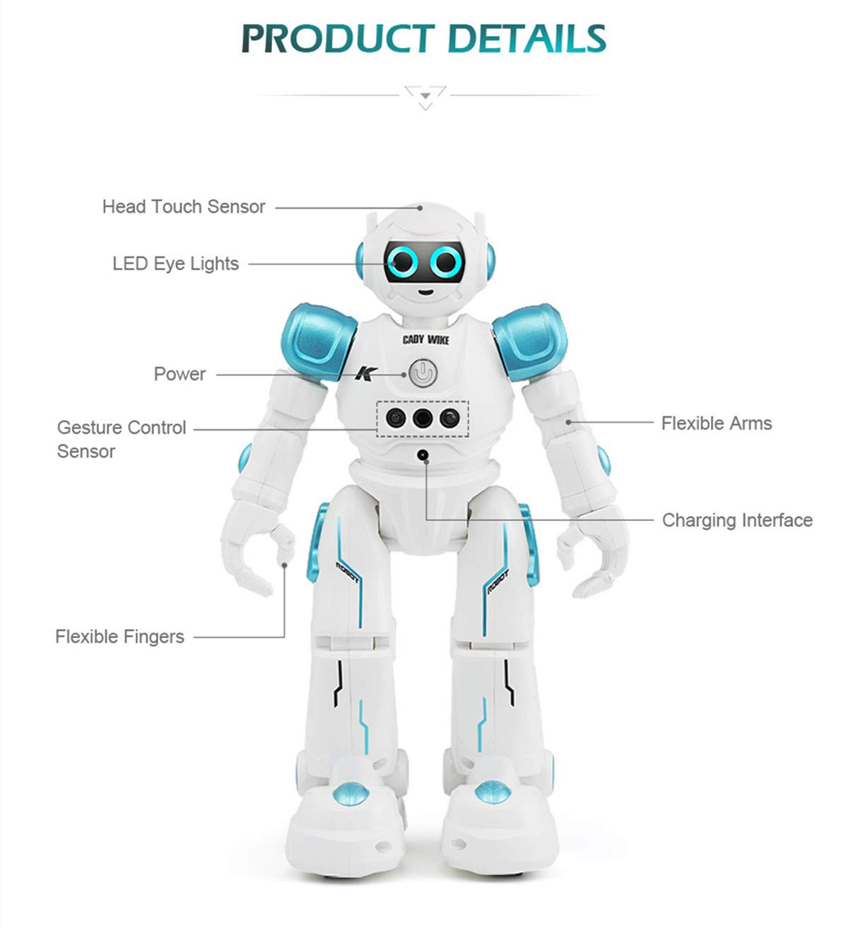 WEECOC Smart Robot Toys Gesture Control Remote Control Robot Kids Toys Birthday Can Singing Dancing Speaking Two Walking Models (Blue) by WEECOC (Image #9)